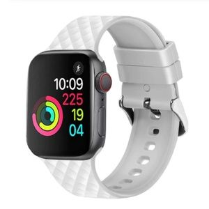 ❤️NEW White Rhomboid Silicone Band For Apple Watch